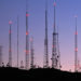 Communications antennae at dusk, Pheonix, Arizona, USA